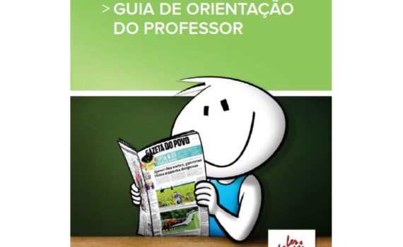 Livro Guia de Orientação do Professor. Mascote do Ler e Pensar lê sorrindo o Jornal Gazeta do Povo