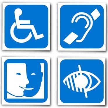 Imagem dos símbolos de Acessibilidade.