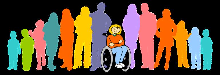 Ilustração de pessoas em pé e à frente uma pessoa sentada em cadeira de rodas de braços cruzados.