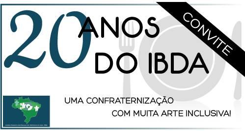Imagem com fundo branco escrito em preto 20 anos do IBDA. Abaixo: Uma confraternização com muita arte inclusiva.