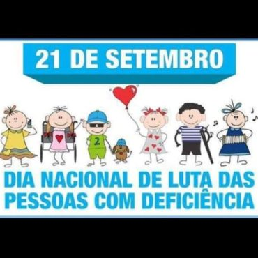 Dia da Luta Pelos Direitos das Pessoas com Deficiência - Imagem retangular em azul claro e branco, com desenhos representando pessoas com deficiência 21 de setembro dia nacional de luta das pessoas com deficiência