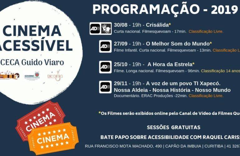 Audiodescrição no Guido Viaro - Imagem do banner com a relação de filmes com audiodescrição.