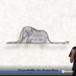 Print da tela do Livro audiovisual acessível. No centro o desenho de um elefante. Do lado direito, um intérprete de LIBRAS.