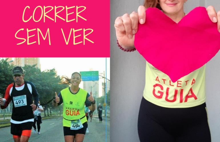 Arte com duas fotos Serginho corre com atleta guia e a guia Sheila em pé. à frente dela um coração. Está com camiseta escrito Atleta Guia.